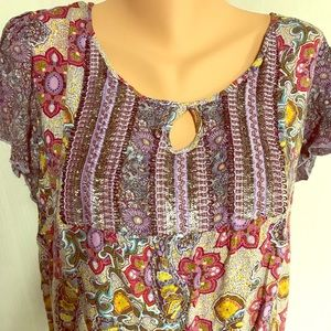 1X purple floral blouse